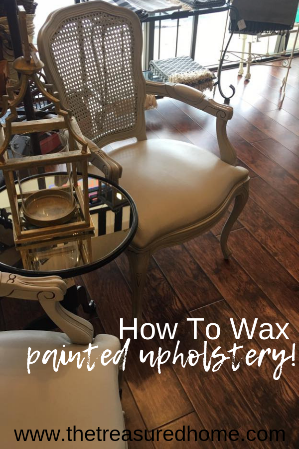 Learn how to wax painted upholstery! This is a furniture painting technique you need to know. #thetreasuredhome #paintedfabric #howtowaxfabric #paintedupholstery #furniturepaintingtechnique